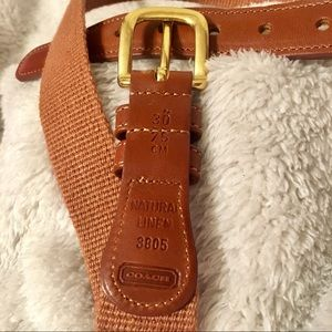 Coach Leather Natural Linen Brown and Gold Belt
